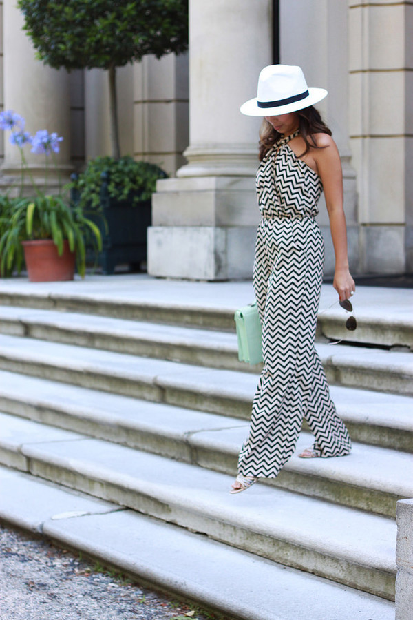i am khatu jumpsuit bag shoes sunglasses chevron palazzo jumpsuit