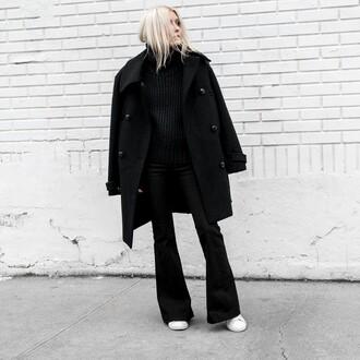 pants black coat black sweater tumblr black pants flare pants sneakers white sneakers coat sweater knit knitted sweater