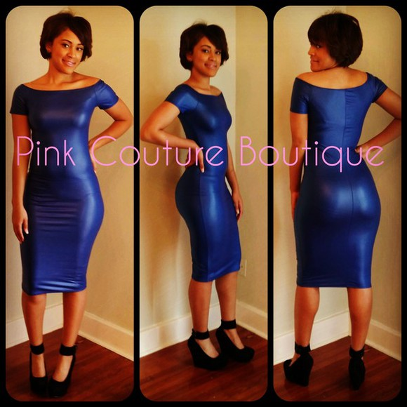 spandex dress bodycon midi dress blue dress royal blue dress leatherette leather look dress wheretoget?