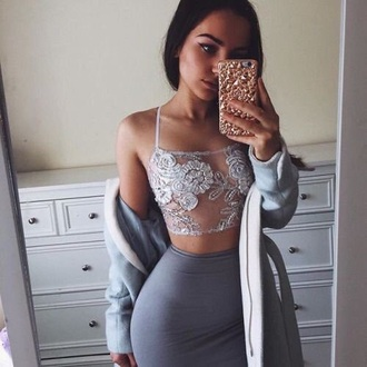 shirt lace mesh crop tops