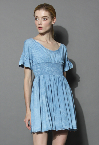 dress chambray kind of chic dress chicwish denim dress chic dress summer dress simple dress retro dress chicwish.com