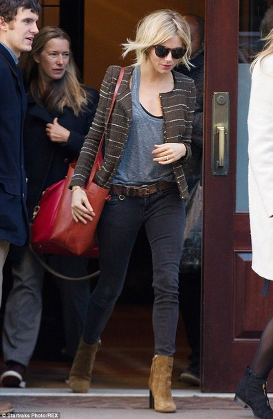 bucket bag ankle boots sienna miller isabel marant red bag