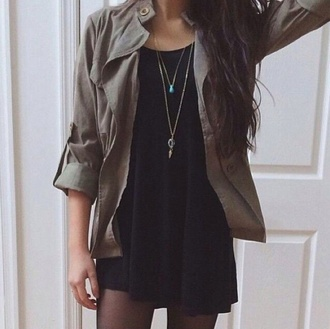 jacket green khaki cute