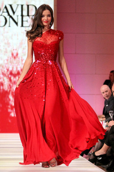 dress miranda kerr red dress red sparkle glamorous catwalk
