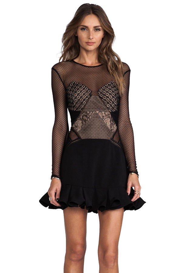 Cyndey black lace paneling dress