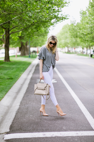 top tumblr ruffle grey top denim jeans white jeans bag nude bag pumps pointed toe pumps high heel pumps shoes