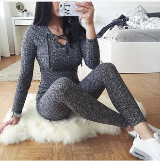 jumpsuit grey jumpsuit knitted jumpsuit