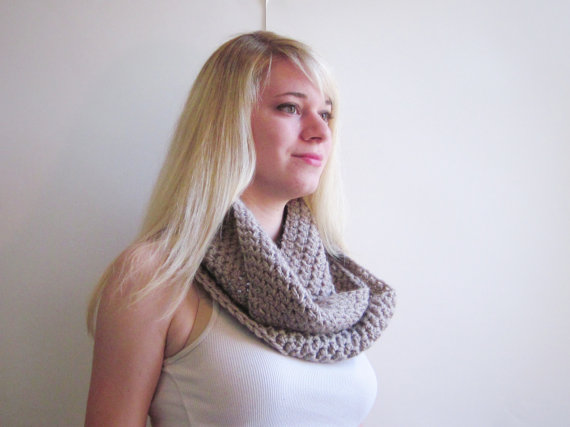Crochet Womens Scarf Beige Taupe Griege Beige Scarf by SalemStyle