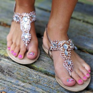Women's Brown with Rhinestone T-strap Comfortable Flats Sandals