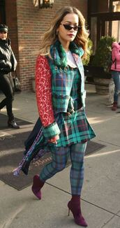 dress,asymmetrical,plaid,rita ora,jacket,streetstyle,fall outfits