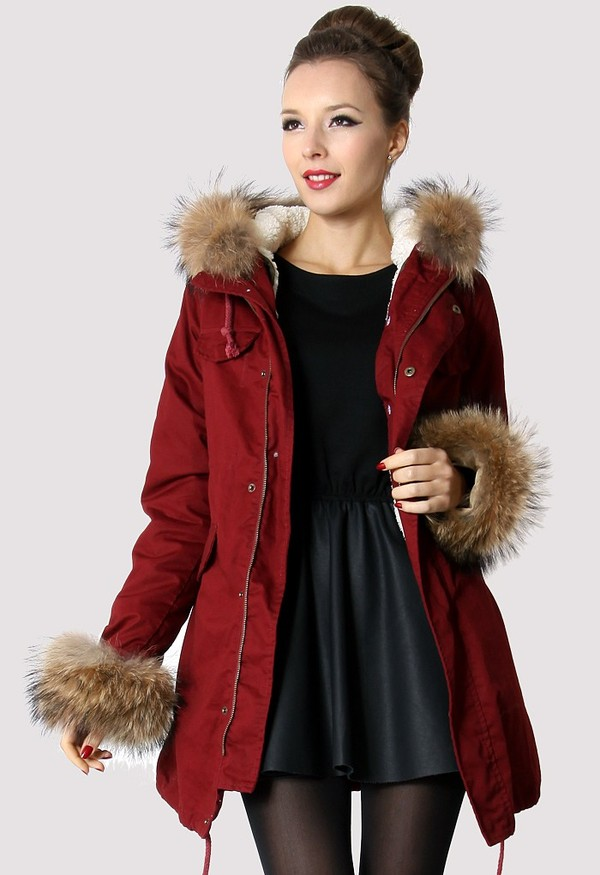 coat parka faux fur