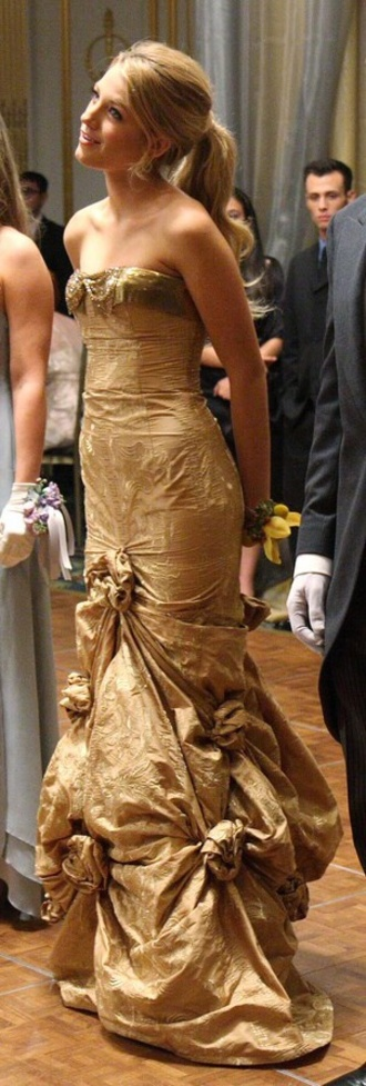 gold serena van der woodsen gossip girl dress