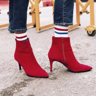 shoes red shoes socks jeans blue jeans