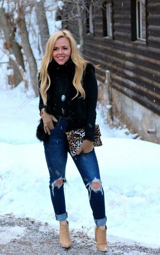 the fashion canvas – a fashion & lifestyle blog blogger jacket jeans bag shoes jewels clutch faux fur vest winter outfits