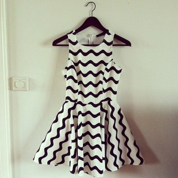 white dress black and white dress summer dress skater dress sleeveless black stripes cute blogger fashion style
