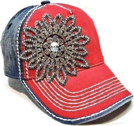 Red and blue bling baseball hat betsy boo 39 s boutique for Red hat bling jewelry