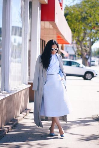 hallie daily blogger coat top skirt shoes sunglasses midi skirt blue skirt blue shirt grey coat blue heels high heel pumps