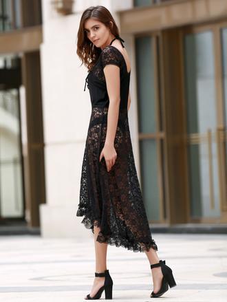 dress dressfo black lace dress black dress fashion maxi dress boho dress
