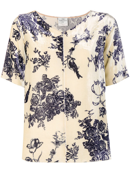 Forte Forte top women floral nude print silk
