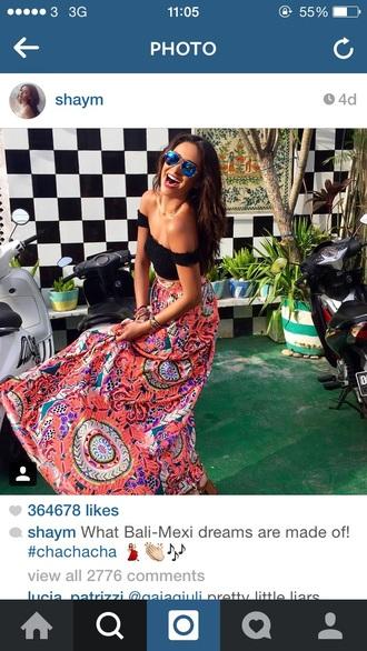 skirt shay mitchell floral skirt maxi skirt