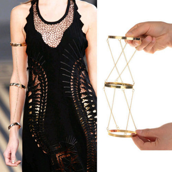 New europe and america style vintage personality alloy three rows chain arm bracelet