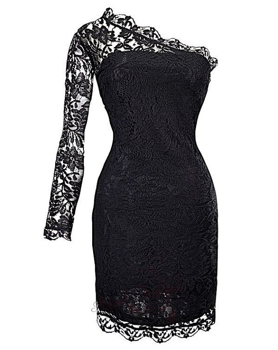 Sexy Black One shoulder Lace Trim Evening Dress by leevintageplace