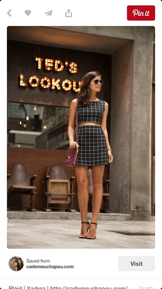 dress co ord co ords black co ords black white plaid skinny plaid geometeric skirt crop crop tops mini skirt white co ords skirt and crop top set