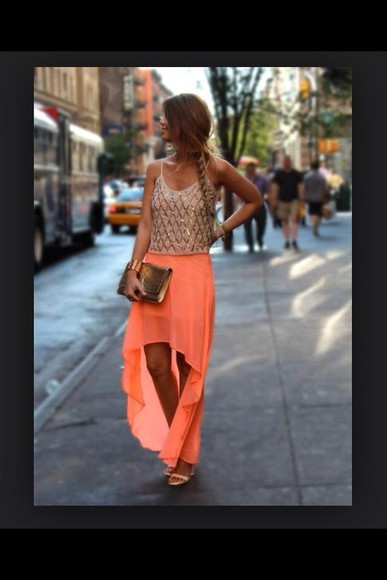 glitter top skirt orange
