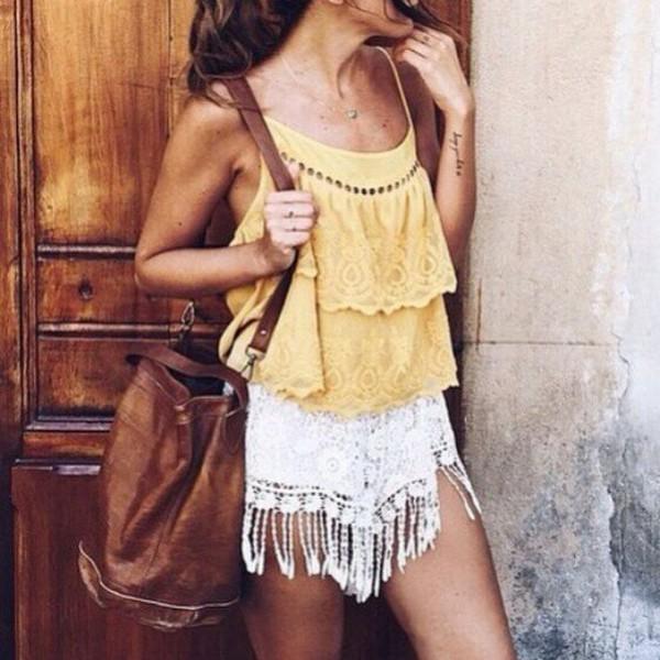 shorts, celebrity fashion lookbook, floral crochet ...