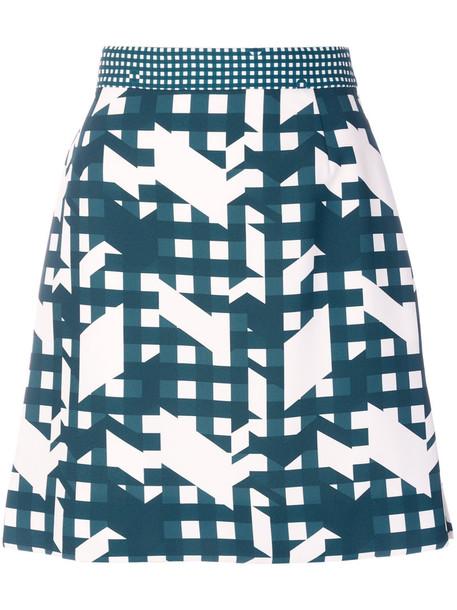 Carven skirt mini skirt mini women print green