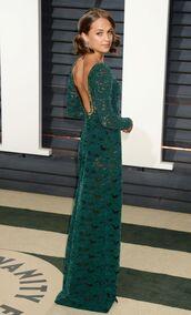 dress,green,green dress,alicia vikander,Oscars 2017,maxi dress,lace dress,lace,oscars