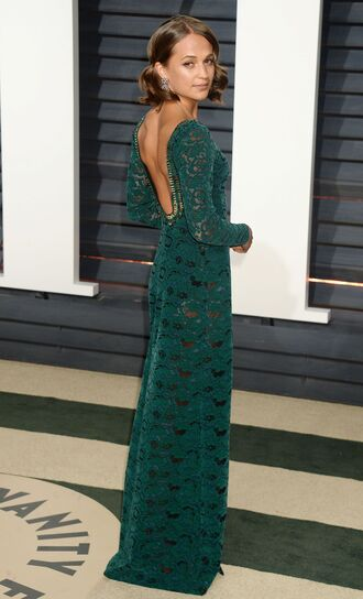 dress green green dress alicia vikander oscars 2017 maxi dress lace dress lace oscars