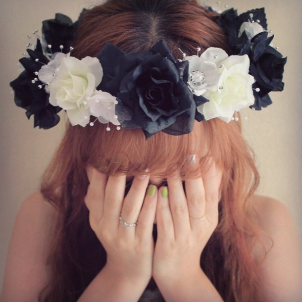 hair accessory, black and white, flower crown, black and white ...