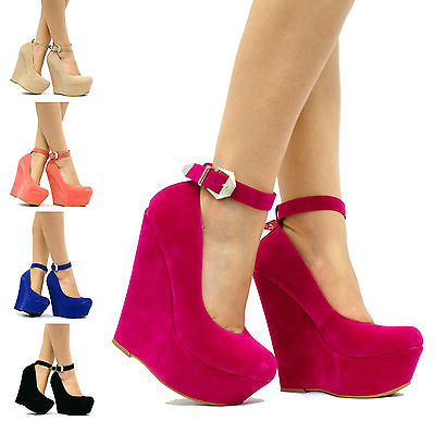 Womens Ladies Wedge High Heel Platform Ankle Strap Party Prom Shoes Boots W41 | eBay