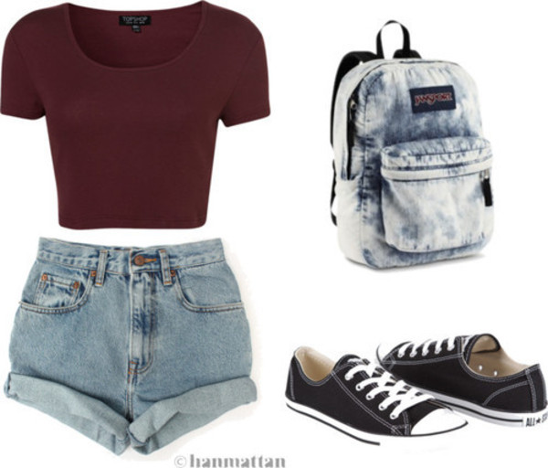 shirt High waisted shorts converse jansport crop tops shorts bag