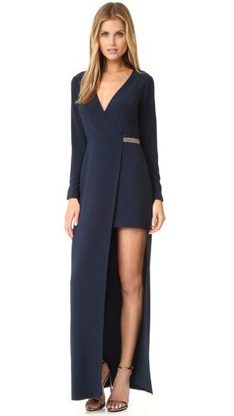 gown asymmetrical v neck navy dress