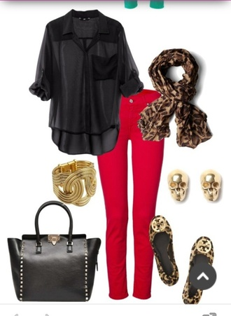 jeans red jeans bag black bag valentino shirt black shirt ballet flats animal print shoes tory burch scarf animal print scarf bracelets gold bracelet earrings