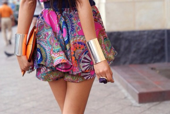 short colourful skirt