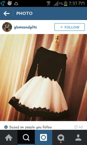 dress prom dress black white