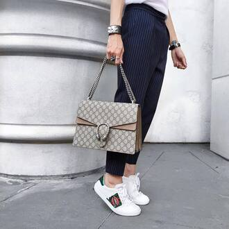 shoes gucci ace sneakers gucci gucci shoes gucci bag dionysus grey bag sneakers white sneakers low top sneakers embroidered pants blue pants striped pants bracelets office outfits