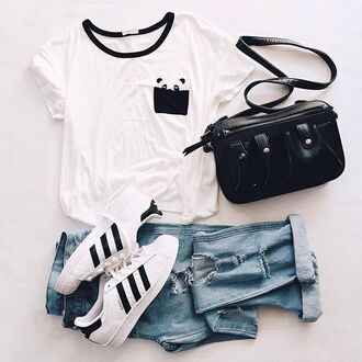 shirt panda ripped jeans outfit shoes adidas adidas shoes white black adidas superstars adidas originals
