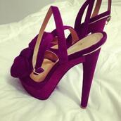 shoes,heels,purple,bow,burgundy,red,high heels,suede,luxury,flowers