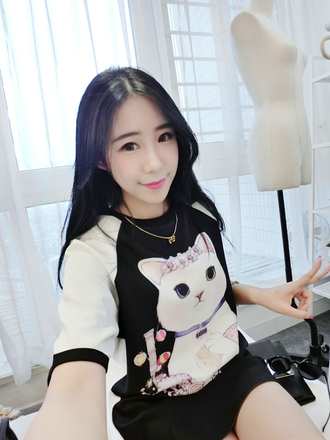 top sweater cats cute girly kawaii long shirt fashion fall outfits style asian black and white japanese fashion adorable outfit