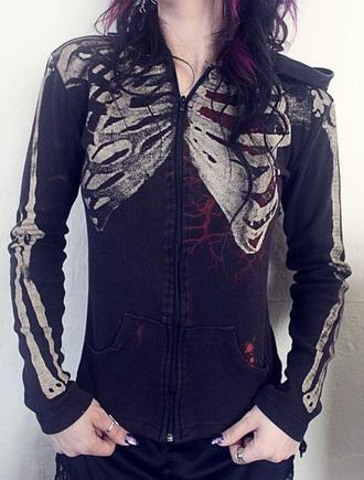 jacket black skeleton ribcage rib cage hoodie zipup