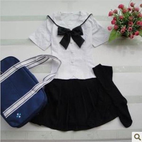 dress japanese  school girl uniform white seifuku seifuku black/white cosplay