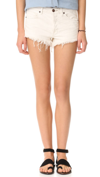 Free People Soft & Worn Relaxed Cutoff Shorts - White