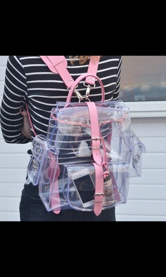 bag backpack see through pink grunge tumblr sexy cute kawaii bagback