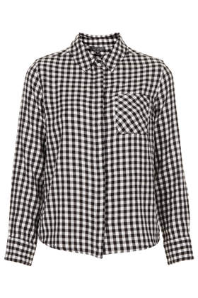 Monochrome Mini Gingham Shirt - Topshop USA