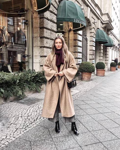 coat tumblr long coat camel long coat oversized oversized coat boots black boots scarf winter outfits