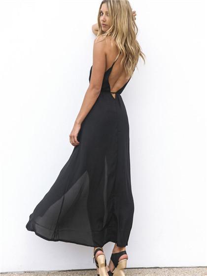 Black Plunge Neck Tied Waist Backless Split Maxi Beach Dress